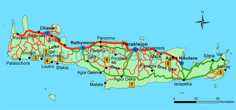 Carte E4 Crete.Mountain Walks In Crete E4 Footpath And Gorges Thehotel Gr
