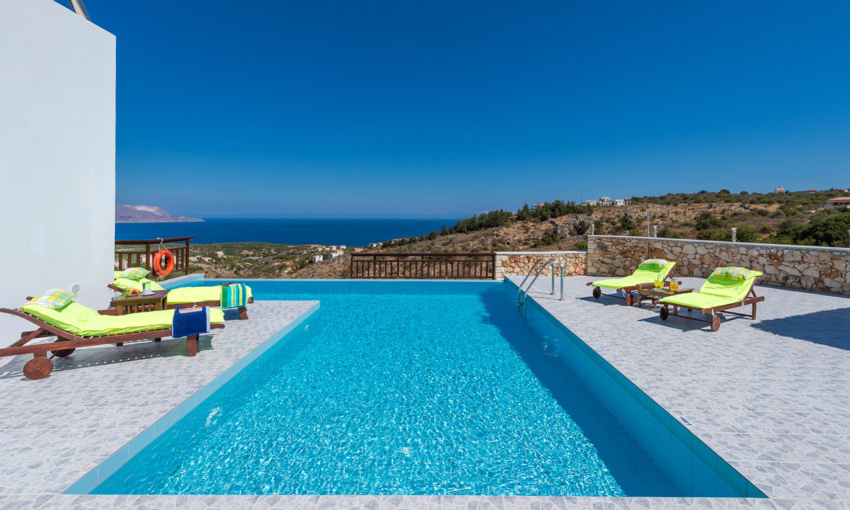 Stunning view villa in almirida chania - Swimming pool area ...