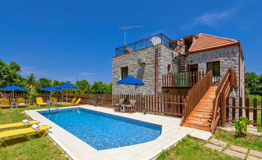 Charming Villa, Platanias, pool-area-II