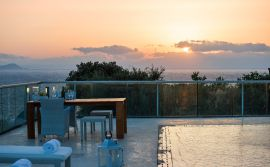 Athena Villas, Tersanas, pool-sunset