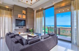 Modern Interior Villa, Maleme, living room sea view