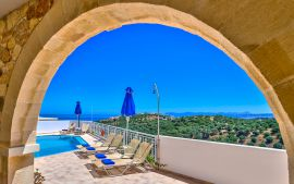 Ilios Village, Stalos, Swimming pool with sea view