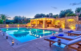 Villa Comfort, Chania town, Pool area at night