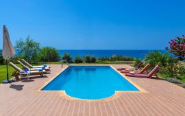 Villa by the Sea, Ierapetra, Pool area with sea view