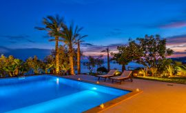 Villa South Crete, Makrigialos, Sea view pool at night