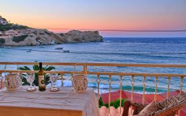 Beachfront Apartment, Agia Pelagia, balcony sunset view 1