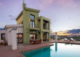 Pasiphae Sea View Villa, Stalos, exterior sunset 1
