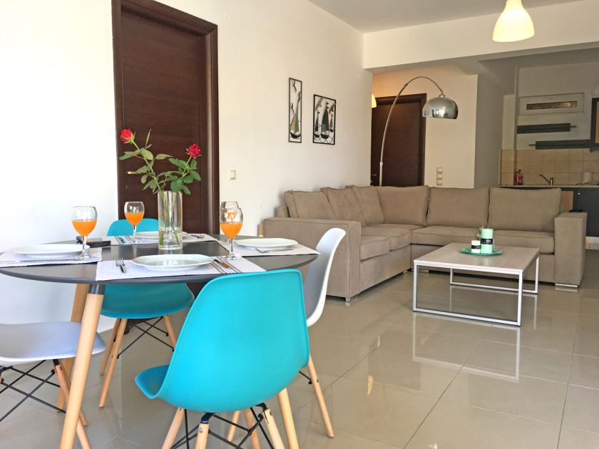 Light Blue Apartment, Chania town, open plan area 1