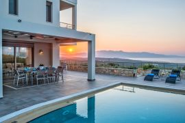 Villa Perfection, Maleme, pool sunset 2