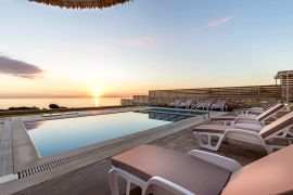 Blue Horizon Villas, Triopetra, middle villa pool at sunset