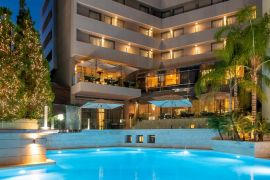 Galaxy Hotel, Heraklion Town, swimming pool night 3b